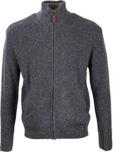 Aran Woollen Mills Lambswool/Nylon Men's Troyer Full Zip Sweater (Graphite, Medium)