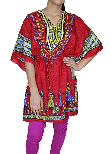 Women Bohemian Floral Kaftan Short Tunic Beach Cover Up Cotton Caftan Large (Arab Woman Outfit)