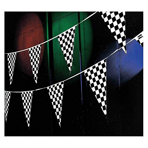Adorox Black White Checkered Flags Party Banner Pennant Car Racing Boy's Birthday Decoration - Flag Party Pennant