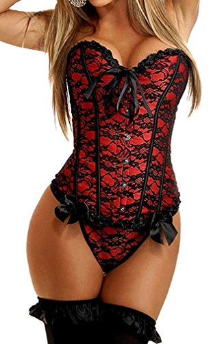 Imilan Women Emboridery Blue Corset Top Sexy Lingerie Sets (3XL(US 12-14),Red)