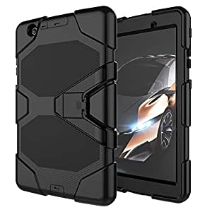 LG G Pad X 8.0 / G Pad 3 8.0 Case, Rugged High Impact Hybrid Drop Proof Armor Defender Kickstand Protection Cover with Screen Protector for LG G Pad X 8.0 V521/G Pad III 8.0 V525 8-Inch Tablet ,black