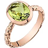 14k Rose Gold Peridot Cupola Solitaire Dome Ring (2.50 carat)