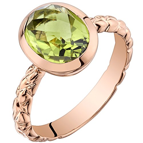 14k Rose Gold Peridot Cupola Solitaire Dome Ring (2.50 carat) Size (Dome Cupola)