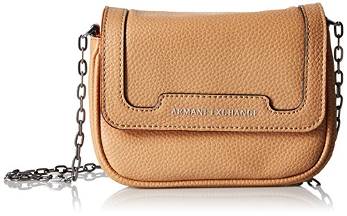 Camel Pebbled - A|X Armani Exchange Pebbled Faux Leather Crossbody, Camel Tan/Orange