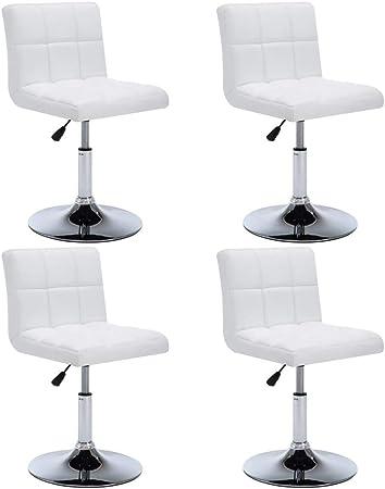 Vidaxl 4x Chaise Pivotante A Diner Similicuir Blanc Cuisine