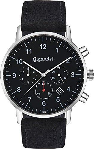 Gigandet Men's Quartz Watch Minimalism II Dualtime Analog Leather Strap Black G21-003