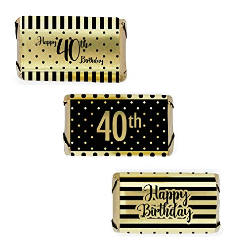Black and Gold 40th Birthday Mini Candy Bar Wrappers | Shiny Foil | 54 Count