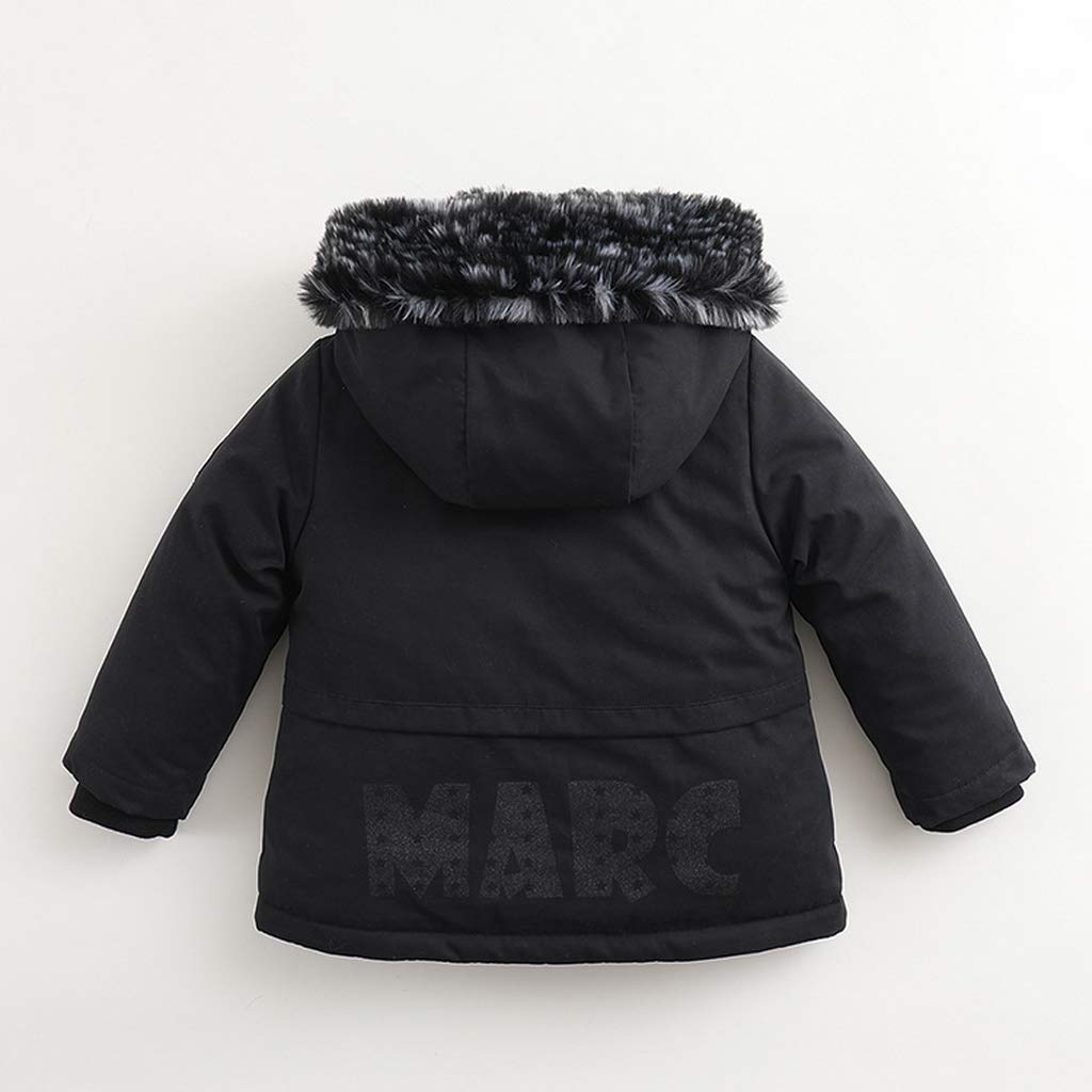 marc janie Little Boys Winter Hooded Fleece Lined Jacket with Removable Fur Collar