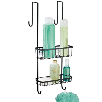 mDesign Organizador de ducha para colgar sobre la mampara – Práctico estante para ducha de metal