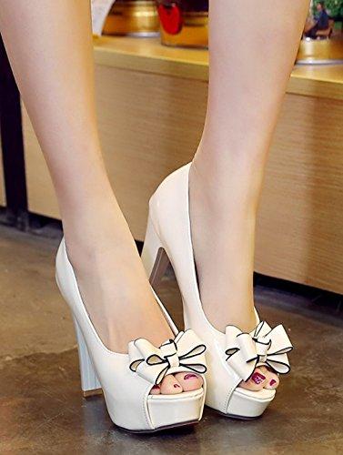 Aisun Femmes Élégant Chunky Haut Talon Habillé Brun Glissé Sur Peep Toe Plateforme Sandales Chaussures Avec Arc Blanc