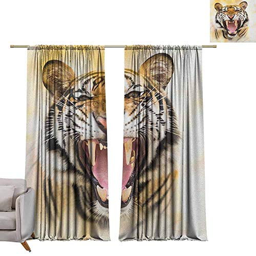 Pocket Thermal Insulated Tie Up Curtains Tiger,Young Panthera Tigris Altaica Growling in Angry Manner Portrait of a Young Large Cat, Multicolor W84