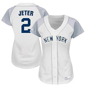 Derek Jeter # 2 Color Blanco y Gris de la mujer camisetas, XXL: Amazon.es: Deportes y aire libre