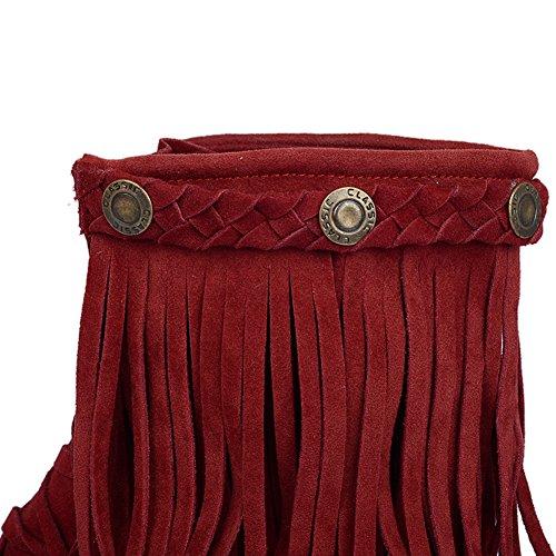 Botines De BIGTREE Mujer Moda Borlas Lace-up Transpirable Cómodo Casual Botas Bajas Rojo