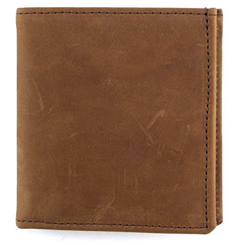 RFID Blocking Mens bifold Top Grain Leather Hipster Wallet,Made in USA,Crazy horse brown,PU802