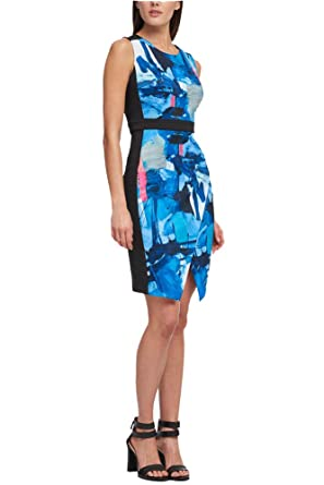 0c4756045f1 Image Unavailable. Image not available for. Color  DKNY Blue Black Printed  Colorblocked Scuba Sheath Dress