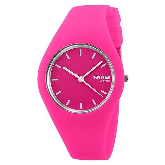 tonshen de los niños Fashion para mujer relojes de cuarzo correa de silicona reloj para mujer, Casual, Rose: Amazon.es: Relojes