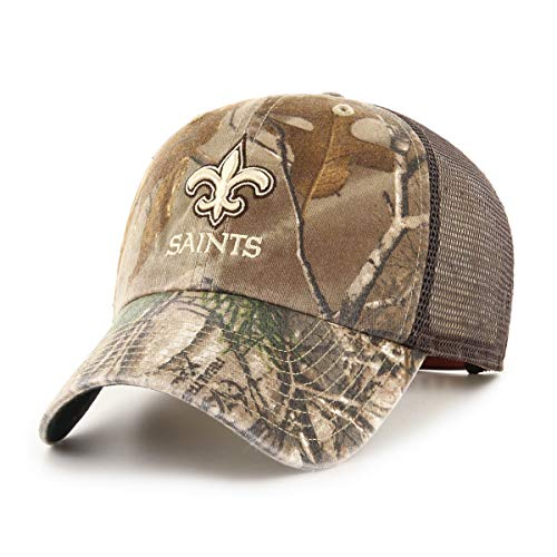 OTS NFL New Orleans Saints Male Ledgewood Challenger Adjustable Hat, Realtree, One Size