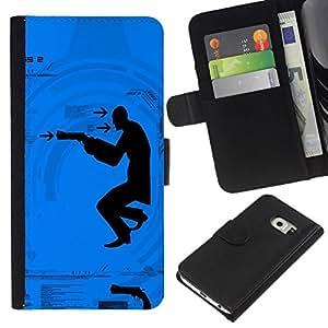 All Phone Most Case / Oferta Especial Cáscara Funda de cuero Monedero Cubierta de proteccion Caso / Wallet Case for Samsung Galaxy S6 EDGE // Shoot Gun Man