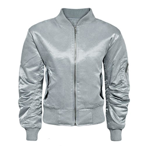 Womens Ladies Padded Satin MA1 Bomber Jacket Quilted Coat Winter Vintage Flight [Silver, - Satin Coat Down