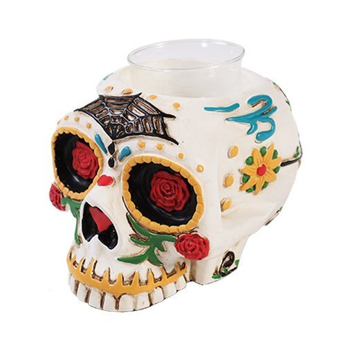 Pacific Trading Giftware Day of The Dead Skull Candle Holder Figurine Made of Polyresin ()