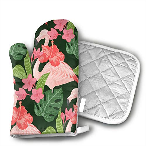 Xixioou Flamingoes and Flowers Oven Mitts Kitchen Gloves and Potholder Kitchen Set,Heat Resistant,Oven Gloves and Pot Holders 2pcs Set for BBQ Cooking Baking Grilling
