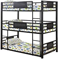 Coaster Rogen Collection 460394F Full Size Triple Bunk Bed with Built-In Ladder Slat Sides and Steel Construction in Dark Bronze