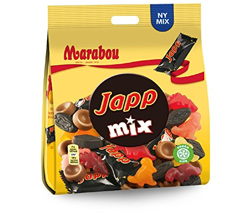 10 Bags x 200g of Marabou Japp Mix - Original - Swedish - Milk Chocolate - Salty Licorice - Toffe - Fruity - Wine Gums - Candies - Sweets