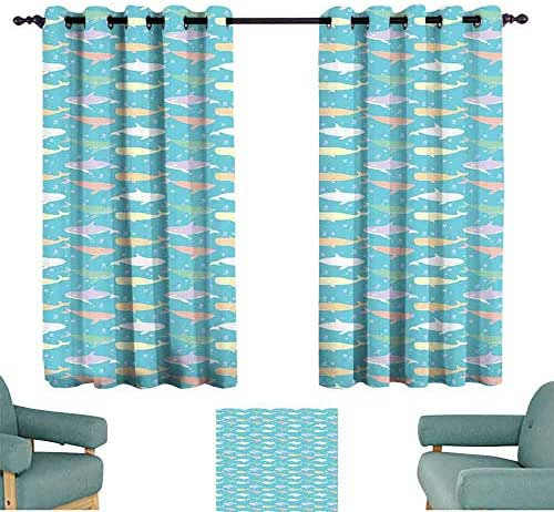 SONGDAYONE Whale Bedroom Curtain Colorful Killer and Sperm Whale Silhouettes in an Abstract Aquatic Life Themed Image Privacy Protection Multicolor (2 Panels,W108 xL72)
