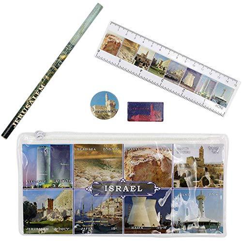 Five Piece Israel Sites Pencil Case Set Single Pencil Case Set