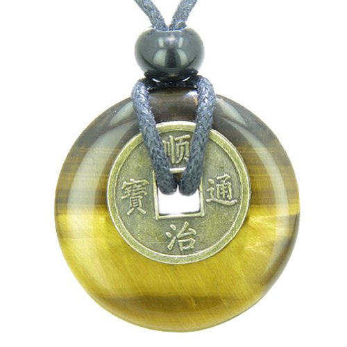 Eye Tiger Amulet (Lucky Coin Evil Eye Protection Powers Amulet Tiger Eye 30mm Donut Pendant Necklace)
