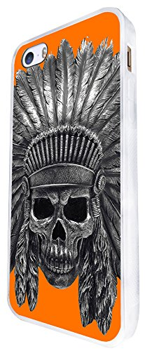 1477 - Cool Fun Trendy Skeleton Indian Headrest Zombies Scary Skull Tattoo Biker Skull Design iphone SE - 2016 Coque Fashion Trend Case Coque Protection Cover plastique et métal - Blanc
