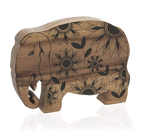 Escultura Elefante Madeira Etna Natural