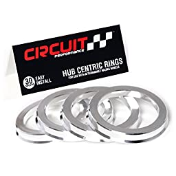 72.56mm OD to 64.1mm ID Circuit Performance Silver Aluminum Hub Centric Rings