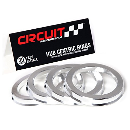Circuit Performance 73.1mm OD to 63.4mm ID Silver Aluminum Hub Centric Rings