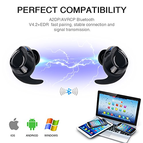 Mini Wireless Earbuds,Hompie True Bluetooth Headphones Wireless Stereo Headsets(V4.2+EDR) IPX5 Sweatproof in-Ear Sports Earphones Built-in Mic with Portable Charging Box for iPhone Android Phones by Hompie (Image #1)