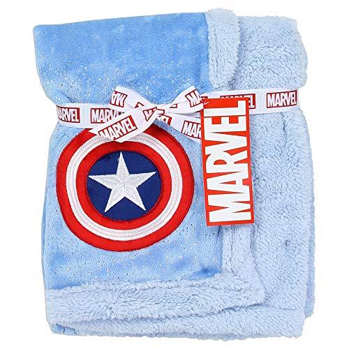 Avengers Super Soft Mink/Sherpa Blue Baby Blanket. 30