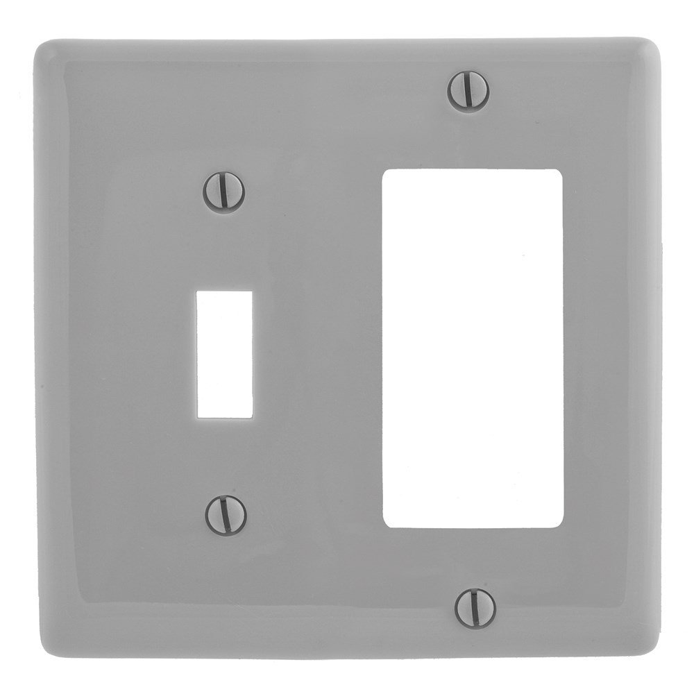 Pack of 5 Hubbell 1-Gang Gray Single Duplex Wall Plate