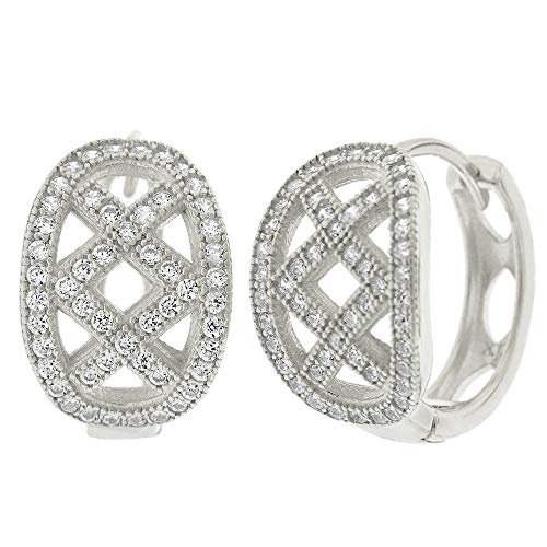 .925 Sterling Silver Womens Cubic Zirconia CZ Double X Clear Micro Pave Oval Round Huggie Hoop Earrings (White) ()