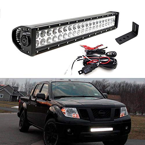 "iJDMTOY Lower Grille 20"" LED Light Bar Kit For 2004-18 Nissan Frontier, Includes (1) 120W LED Lightbar, Lower Bumper Opening Mounting Brackets & On/Off Switch Wiring Kit"
