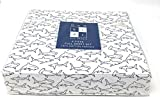Kids max studio Navy Blue Outline Sharks on White 4-PC FULL Sheet Set | 100% Cotton Percale