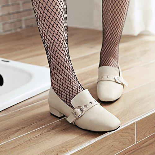 Bedel Voet Dames Vintage Stijl Lage Hak Vierkante Neus Loafers Schoenen Beige