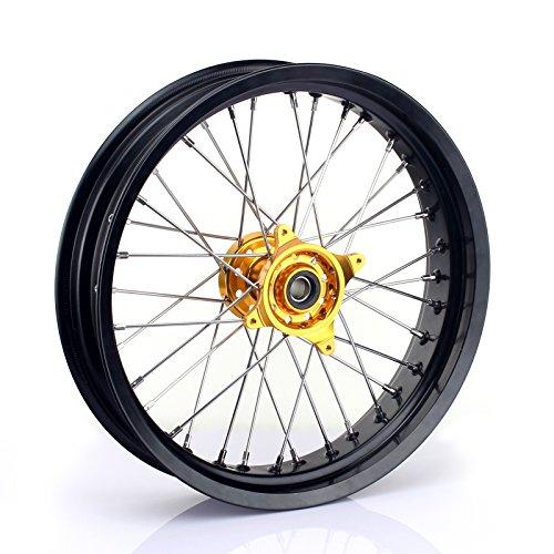 TARAZON 17 x 3.5 Supermoto Front Complete Wheel Kit Rim Spokes Gold Hub for Suzuki RMZ250 2007-2018 RMZ450 2005-2018