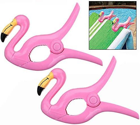 LHKJ 1 Par Pinzas de Plástico para Ropa, Toalla de Playa, Calcetines ect, Forma de Flamenco Rosa