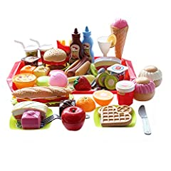 Play Fast Food Toy Set For Kids Pretend Play Feature Variety And Durable Ideal Gift Toys For Kids Kitchen Pretend Play 🍔food Toy Set Includes A Full Assortment Of Play Food In Bright Colors With Food Items For Breakfast, Lunch, And Dinner Wi...