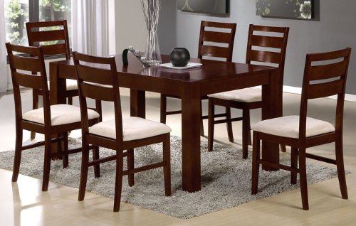 7pc Casual Dining Set with Solid Table Top in Brown Finish