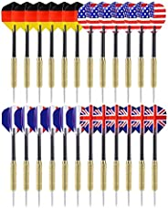 Ohuhu Steel Tip Darts National Flag Flights Stainless Steel Tip Dart Set with Extra PVC Dart Rods   12 Pack /