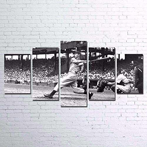 ZZXINK 5 Pieces Baseball Player Vintage Paintings Canvas Poster Home Decor Wall Art Sports Pictures HD Prints For Living Room Framework (L)