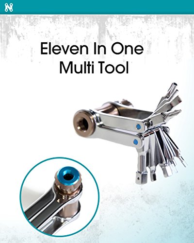 11 in 1 Multi Purpose Bike Accessory Tool - Includes chrome hex and star driver phillips and flathead screwdriver and aluminum CO2 inflator valve - Compact and durable accessories for bicycle repair by Noble Cycling (Image #1)