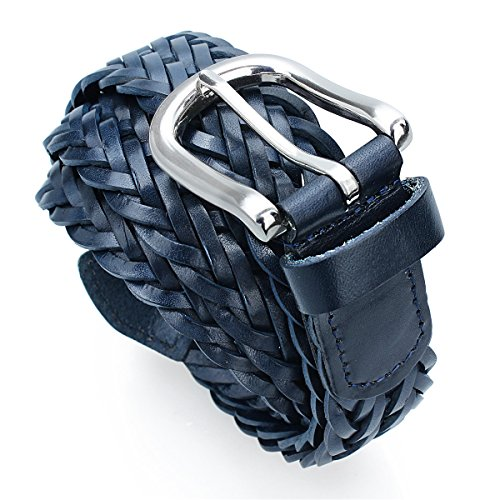Mens Braided Leather Belt Pin Buckle Belt for Jeans and Dress - Best Gifts for Young Men and ()