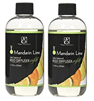 Hosley Aromatherapy Set of 2 Premium Mandarin Lime Scented Reed Diffuser Refills Oil, 230 ml (7.75 fl oz) Made in USA. BULK BUY. Ideal GIFT for Weddings, Spa, Reiki, Meditation Settings PR